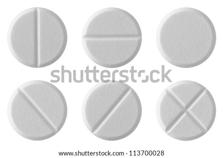 White tablet pills , isolated on white background - stock photo