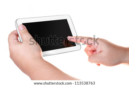 White tablet smart phone isolated on white background