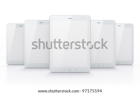 White tablets on white background, 3d render. - stock photo