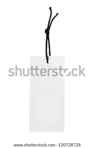 White tag or label with the string - stock photo
