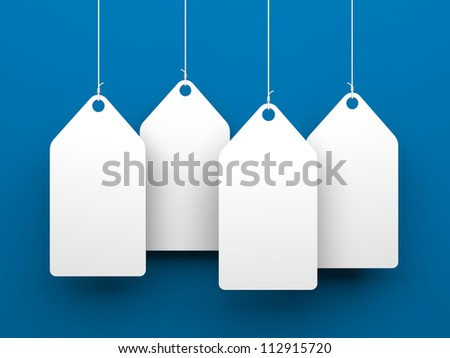 White tags on blue background - stock photo