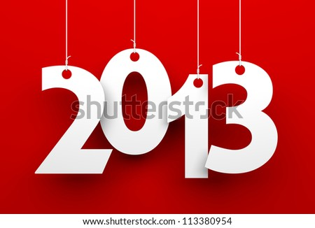 White tags with 2013 on red background - stock photo