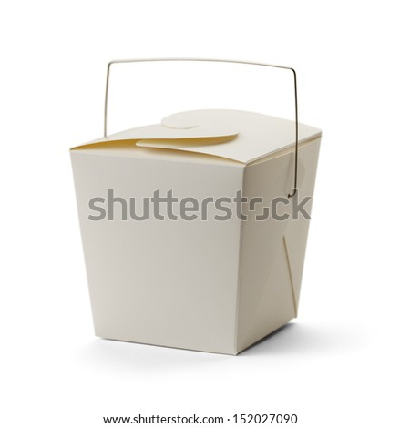 White Take Out Box with Copy Space Isolated on White Background.