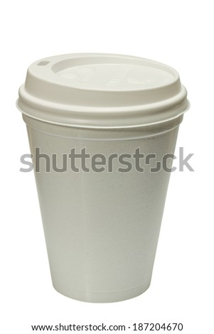 White takeaway cup. Isolated on white - stock photo