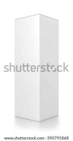 White tall rectangle blank box isolated on white background. - stock photo