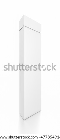 White tall thin vertical rectangle blank box with cover from front side angle. 3D illustration isolated on white background.