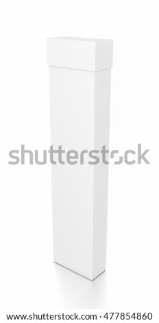 White tall thin vertical rectangle blank box with cover from top side angle. 3D illustration isolated on white background.