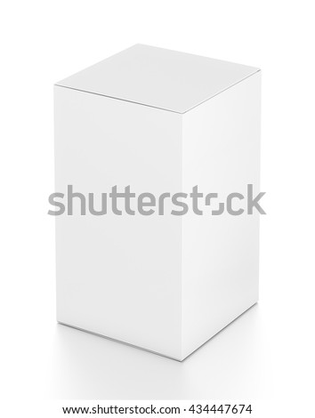 White tall vertical rectangle blank box from top far side angle. 3D illustration isolated on white background. - stock photo