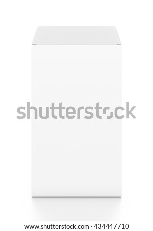 White tall vertical rectangle blank box from top front angle. 3D illustration isolated on white background. - stock photo