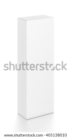 White tall vertical rectangle blank box from top front side angle. 3D illustration isolated on white background. - stock photo