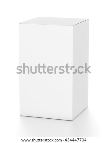 White tall vertical rectangle blank box from top side angle. 3D illustration isolated on white background.