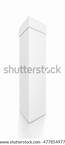 White tall vertical rectangle blank box with cover from front side angle. 3D illustration isolated on white background.