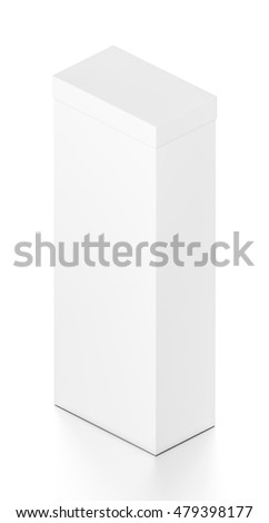 White tall vertical rectangle blank box with cover from isometric angle. 3D illustration isolated on white background.