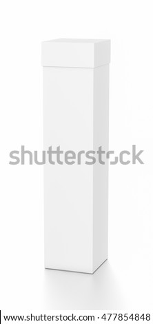 White tall vertical rectangle blank box with cover from top front far side angle. 3D illustration isolated on white background.