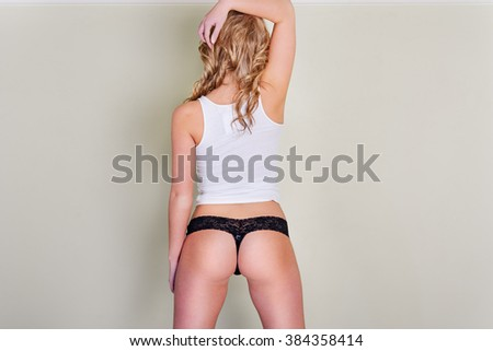 White tank top with lace thong - stock photo