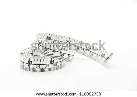 white tape measuring isolated 2 - stock photo