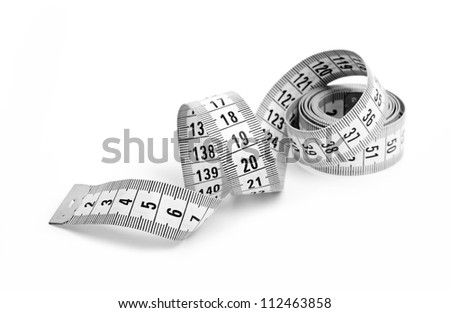 white tape measuring isolated on a white background - stock photo