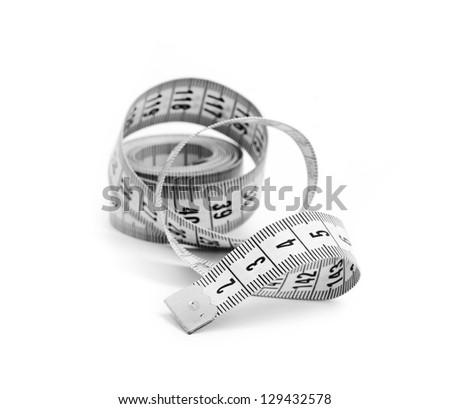 white tape measuring isolated on white background - stock photo