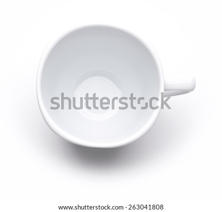 White tea or coffee cup isolated on white. Top view