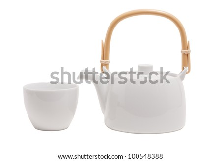 white tea pot isolated on white - stock photo