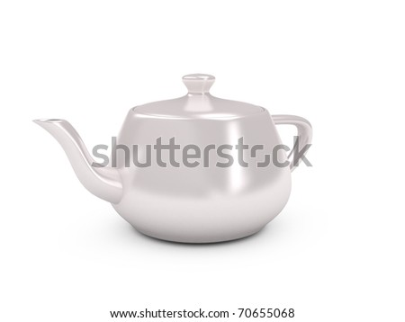 White tea pot over white background. Computer generated image
