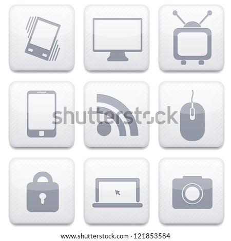 white technology app icon set. - stock photo