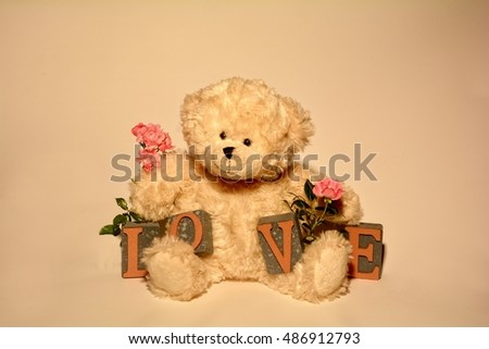 White teddy bear with Love stones against white  background and with pink roses