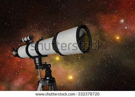 white telescope in a starry night sky - stock photo