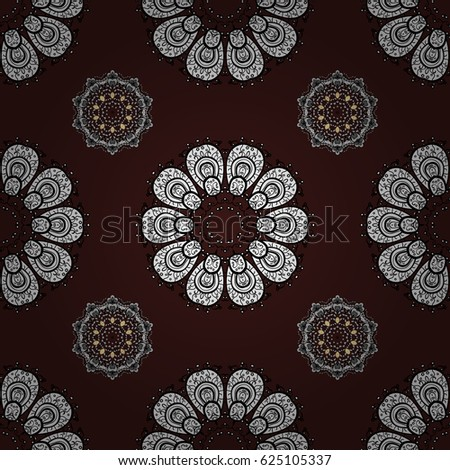 White template. Design vintage for card, wallpaper, wrapping, textile. Royal retro on brown background. Seamless pattern white elements. Floral classic texture.