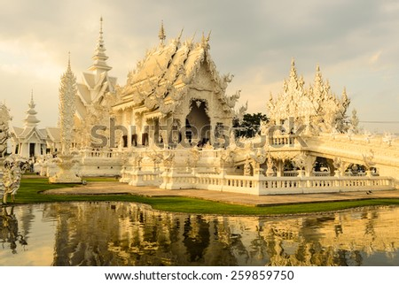 White Temple  in Thailand - stock photo