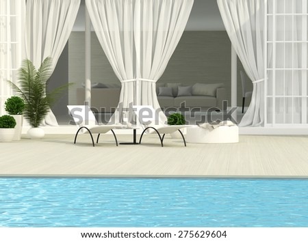 White terrace, flowers and chaise lounges - stock photo