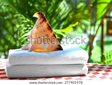 White Terry towel with a sea shell on a background of green trees - stock photo