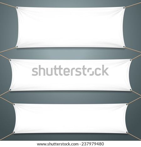 White Textile Banners on the gray background. Template Ready for Your Text and Design - stock photo