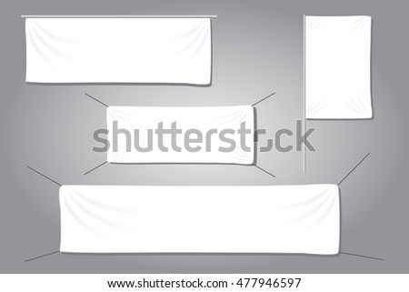 White textile banners with folds template