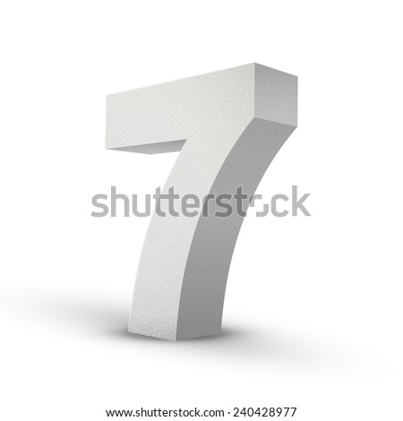 white texture number seven isolated over white background