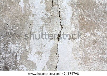 White texture of old cracked wall surface.