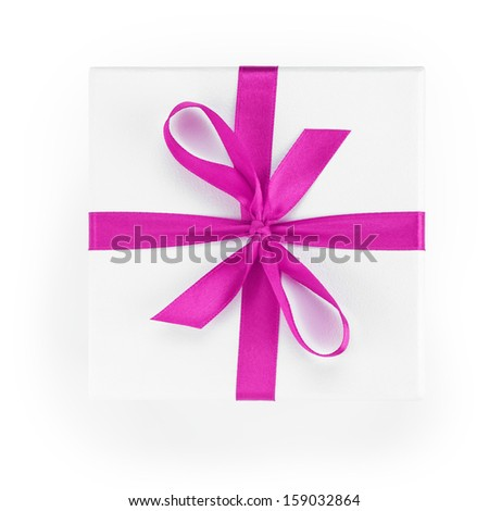 white textured gift box with purple ribbon percent symbol, from above