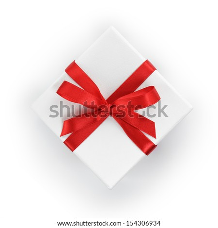 white textured gift box with red  ribbon bow, from above