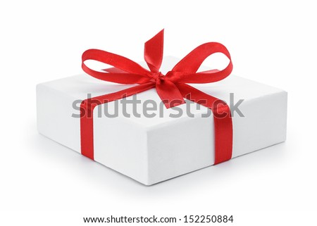 white textured gift box with red  ribbon bow, isolated on white - stock photo