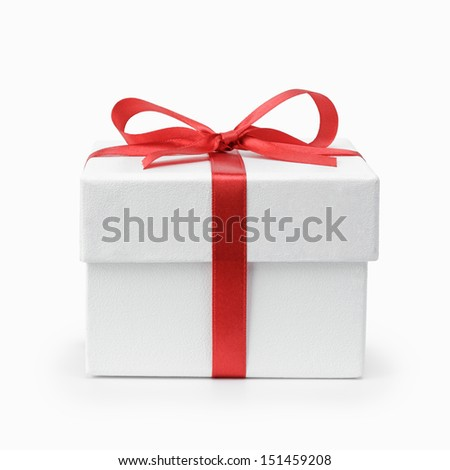 white textured gift box with ribbon bow, isolated on white - stock photo