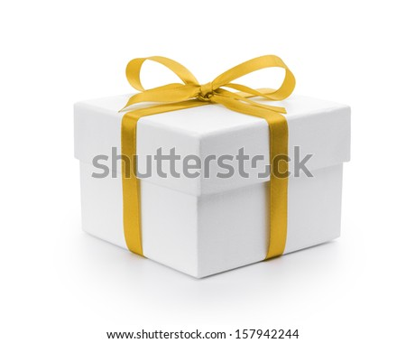 white textured gift box with yellow ribbon bow, isolated on white - stock photo