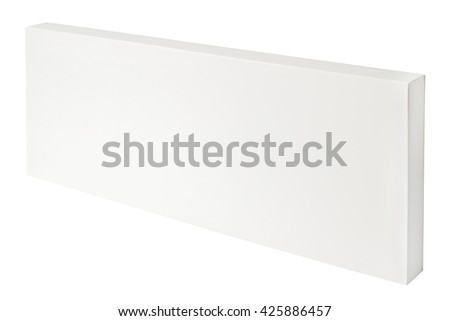 White thin cardboard box isolated on white background