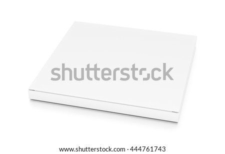 White thin flat horizontal rectangle blank box from top side closeup angle. 3D illustration isolated on white background.