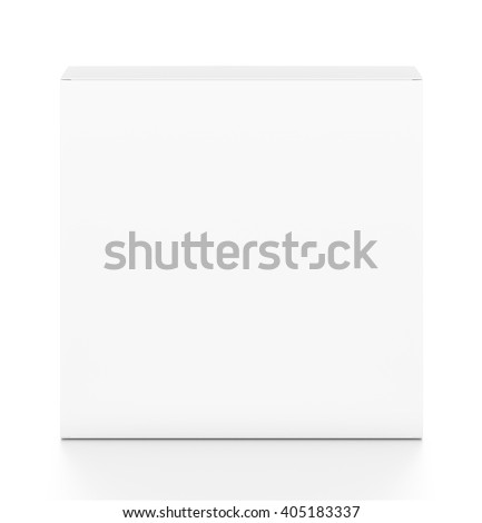 White thin rectangle blank box from top front angle. 3D illustration isolated on white background.