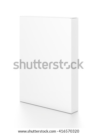 White thin vertical rectangle blank box from side angle. 3D illustration isolated on white background. - stock photo