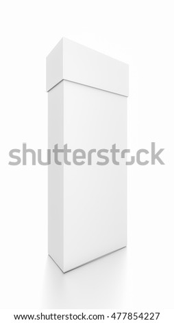 White thin vertical rectangle blank box with cover from front side angle. 3D illustration isolated on white background.