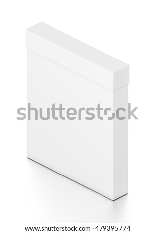 White thin vertical rectangle blank box with cover from isometric angle. 3D illustration isolated on white background.