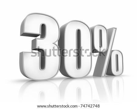 White thirty percent, isolated on white background. 30% - stock photo
