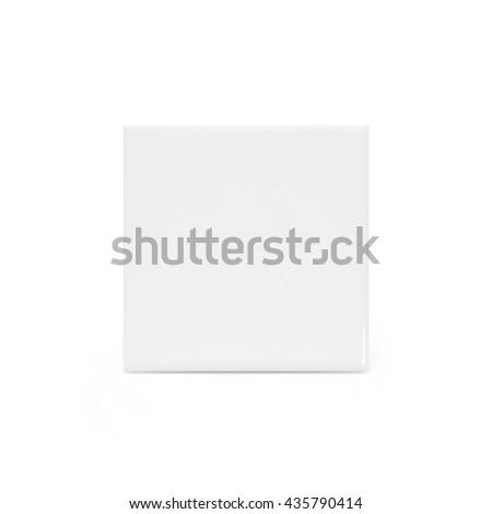 White tile. Ceramic tile. White ceramic tile. Ceramic tile isolated. Modern tile. Elegance tile. Bathroom tile. Kitchen tile. House tile. Ceramic tile material. Shiny ceramic tile. Clipping path tile. - stock photo
