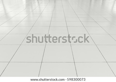 White Tile Floor Clean Condition Grid Stock Photo 598300073